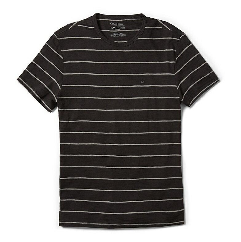 美國百分百【全新真品】Calvin Klein 上衣 CK 短袖 T恤 T-shirt 黑 灰 條紋 XS 男 E843