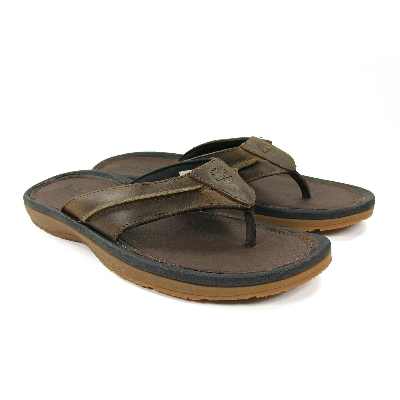 美國百分百【全新真品】Timberland 拖鞋 鞋子 涼鞋 人字拖 牛皮 男鞋 夾腳 咖啡色 9號 US 9 E845