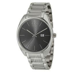 美國百分百【Calvin Klein】配件 CK 手錶 腕錶 金屬 大錶面 瑞士 石英 流線 不鏽鋼 男 E849