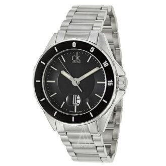 美國百分百【Calvin Klein】配件 CK 手錶 腕錶 金屬 大錶面 瑞士 石英 計時 不鏽鋼 男 E851