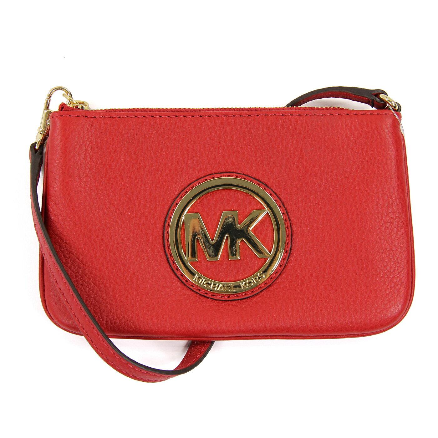 美國百分百【全新真品】MICHAEL KORS 手拿包 MK 手提包 錢包 手機包 皮包 紅色 真皮 女包 A694