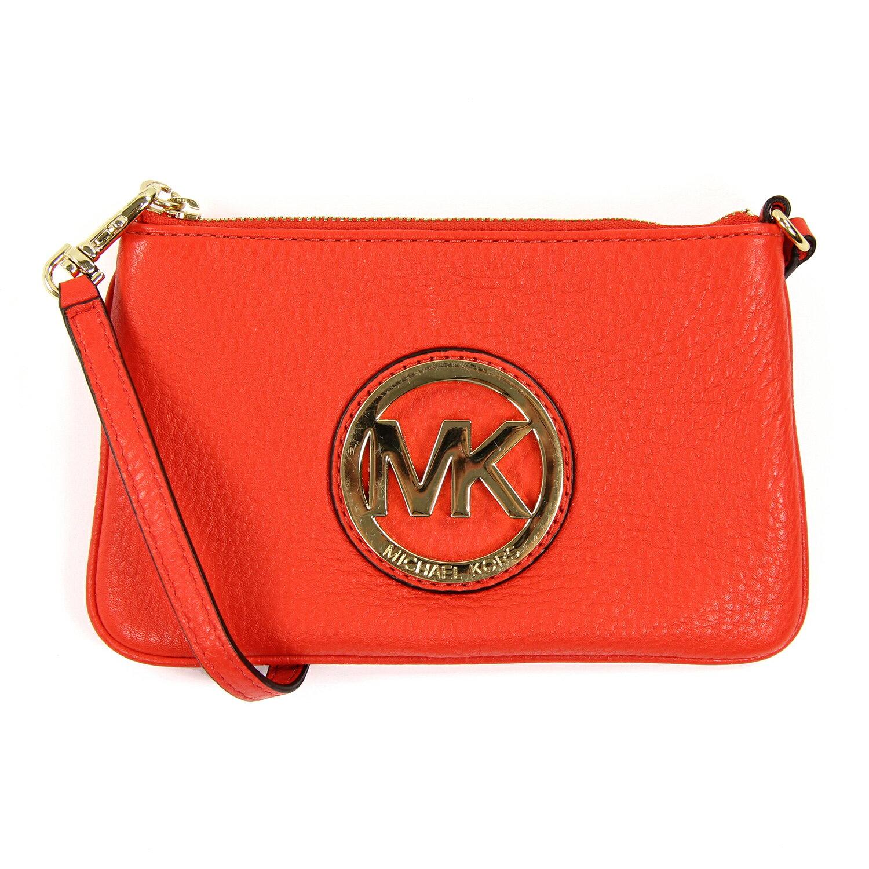 美國百分百【全新真品】MICHAEL KORS 手拿包 MK 手提包 錢包 手機包 皮包 深橘色 真皮 女包 A694