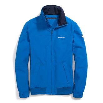 美國百分百【全新真品】Tommy Hilfiger 外套 收納帽 防水 TH 夾克 大衣 風衣 天空藍 男 L B994