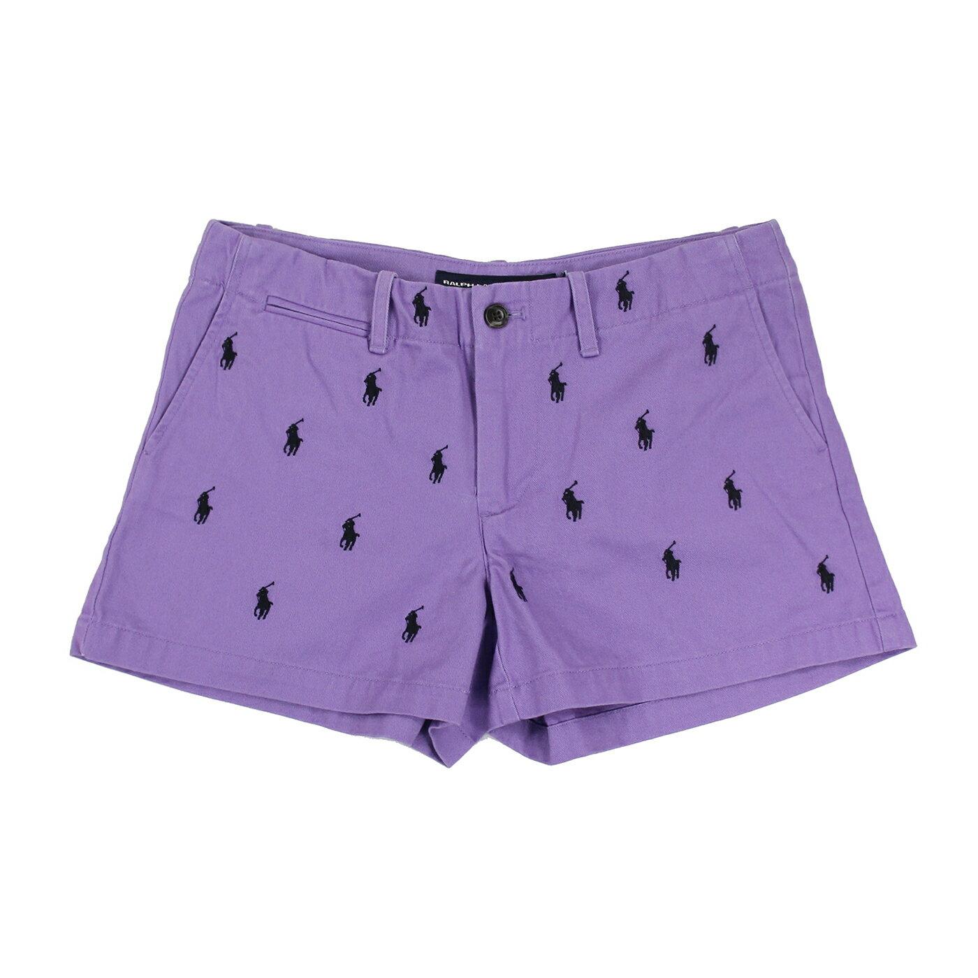 美國百分百【全新真品】Ralph Lauren 褲子 RL 短褲 牛仔褲 熱褲 Polo 小馬 女 2號 紫色 C395