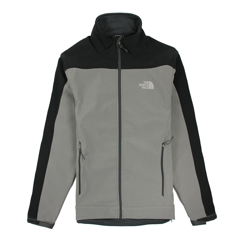 美國百分百【The North Face】男 保暖 登山 防風 外套 TNF 軟殼 夾克 黑色 灰色 S號 E405
