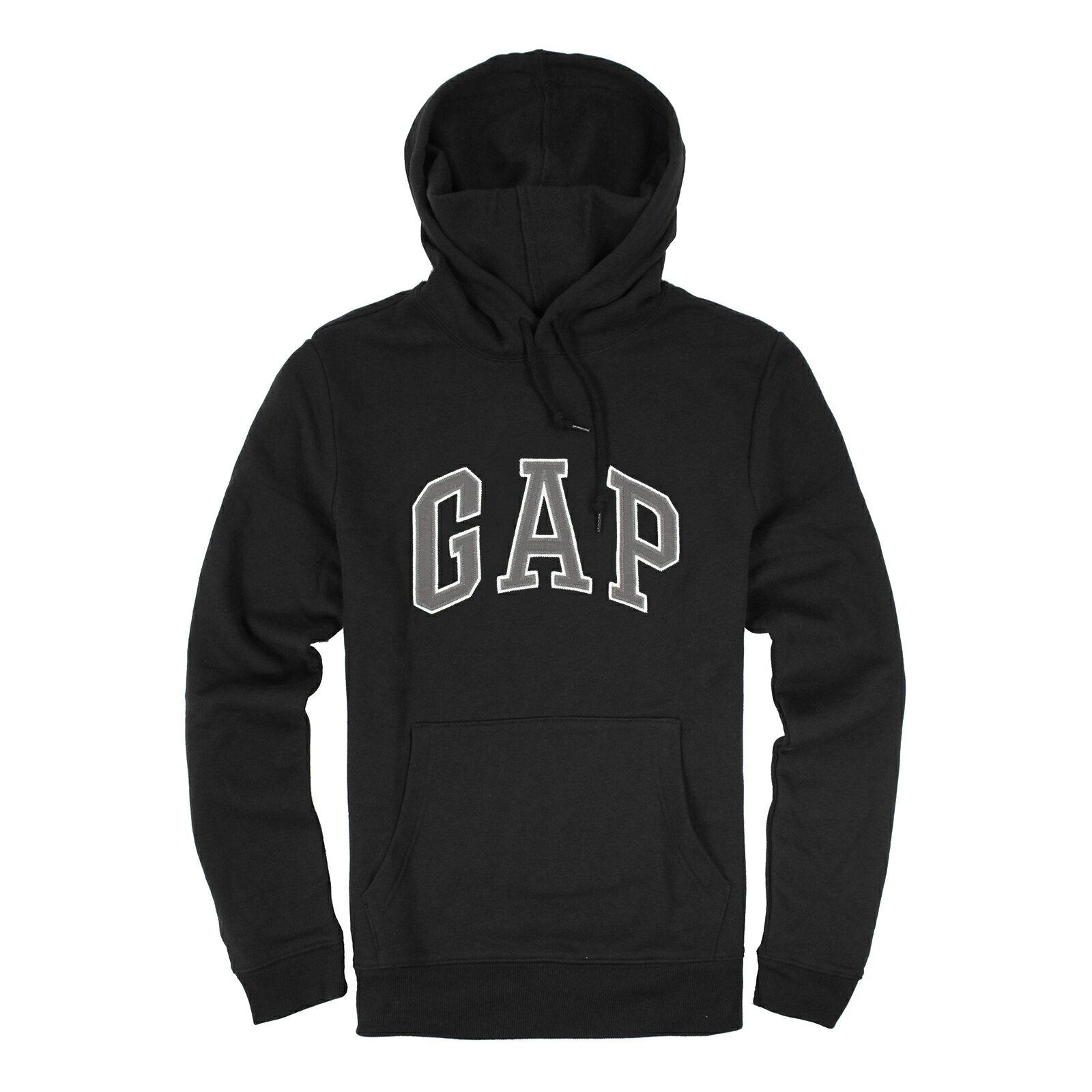美國百分百【全新真品】GAP 帽T 上衣 外套 長袖 連帽 LOGO 貼布 灰字白邊 黑色 現貨 男 S號 E461