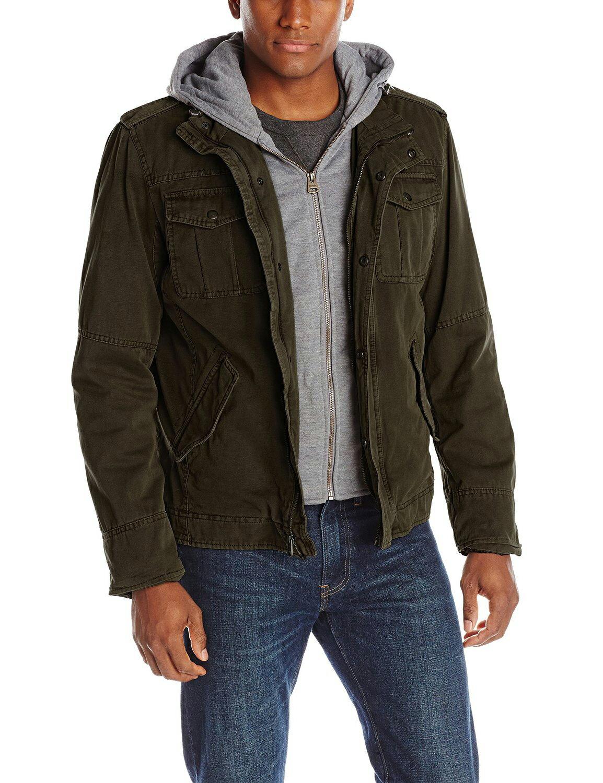 美國百分百【全新真品】Levis 外套 雙頭馬車 連帽 夾克 男款 風衣 牛仔 軍風 假兩件 軍綠 S號 E860