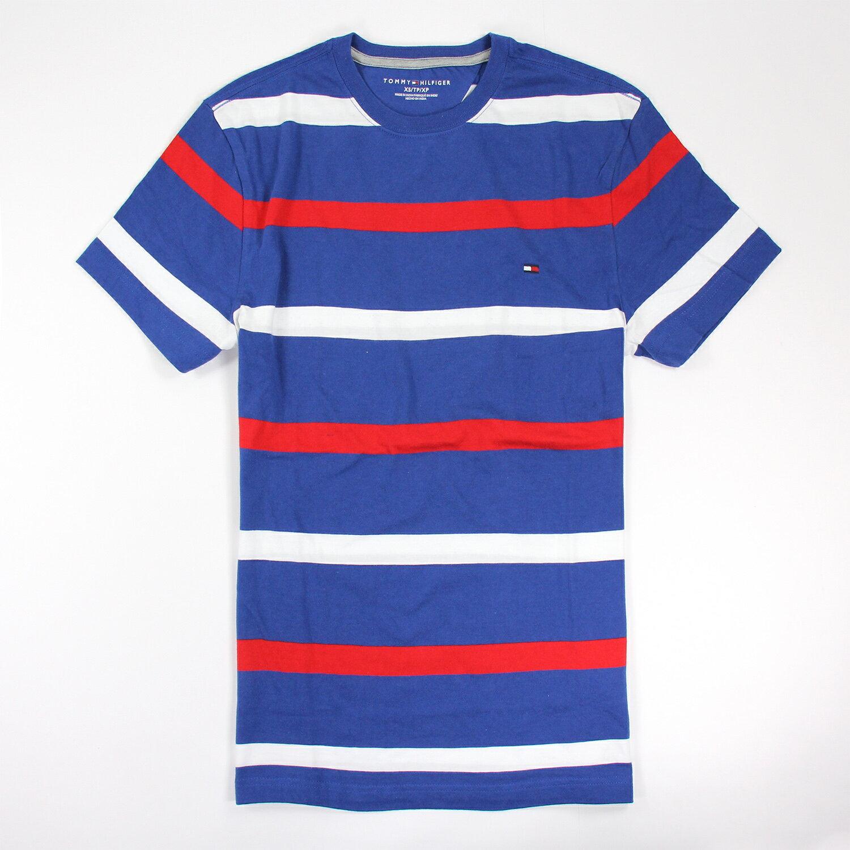 美國百分百【Tommy Hilfiger】T恤 TH 男 圓領 T-shirt 短袖 條紋 藍 紅白 XS S E871