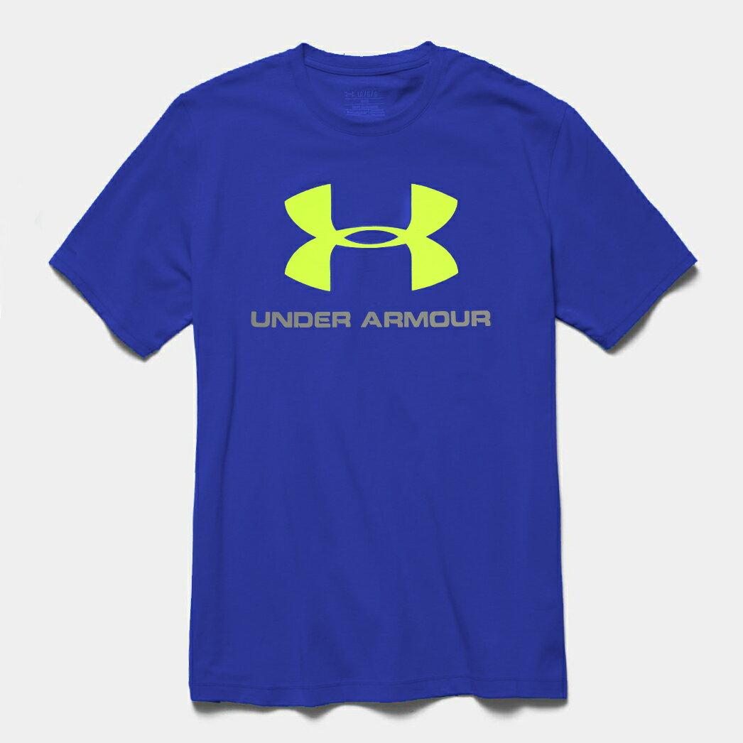 美國百分百【全新真品】Under Armour 運動時尚 UA T恤 Logo T-shirt 寶藍 S號 E873