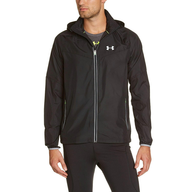 美國百分百【全新真品】Under Armour 運動時尚 UA 外套 跑步 夾克 透氣 黑色 排汗 M XL E876