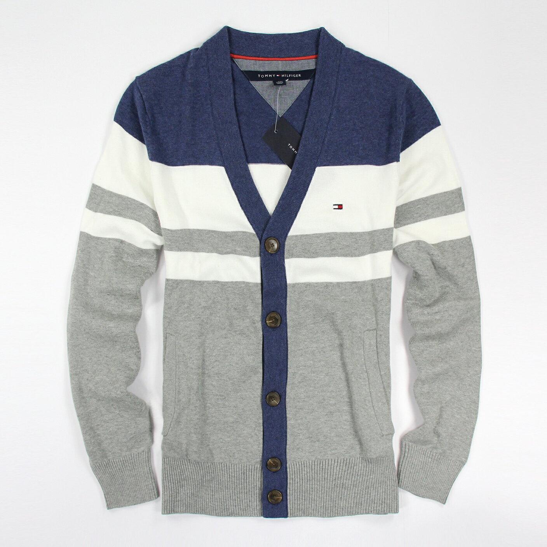 美國百分百【Tommy Hilfiger】針織衫 TH 線衫 開襟 毛衣 外套 罩衫 條紋 藍 白 灰 XS號 E880