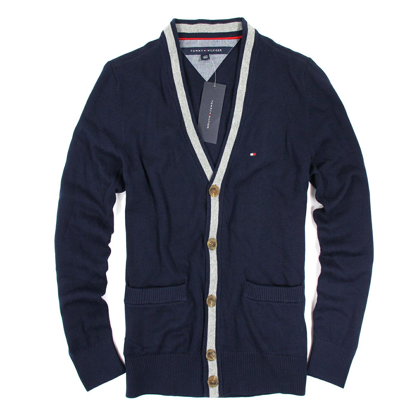 美國百分百【Tommy Hilfiger】針織衫 TH 線衫 開襟 毛衣 外套 罩衫 學院風 深藍 XS S號 E881