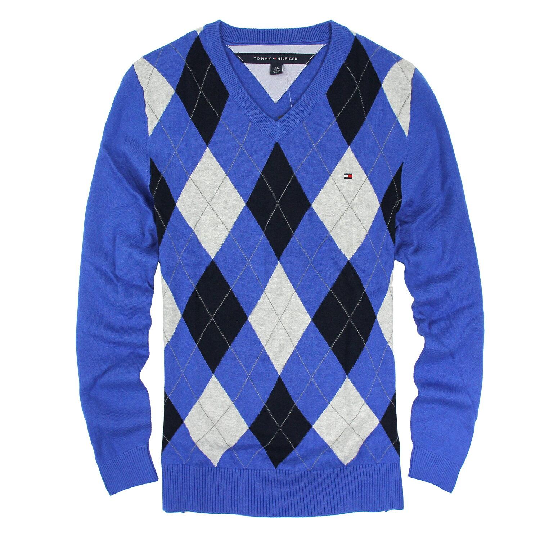 美國百分百【Tommy Hilfiger】針織衫 TH 線衫 毛衣 菱格 V領 學院風 寶藍 XS號 B608