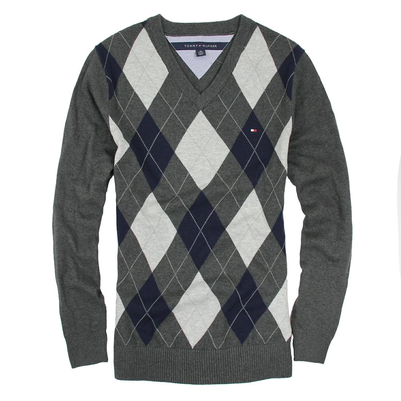 美國百分百【Tommy Hilfiger】針織衫 TH 線衫 毛衣 菱格 V領 學院風 鐵灰 XS S號 B608
