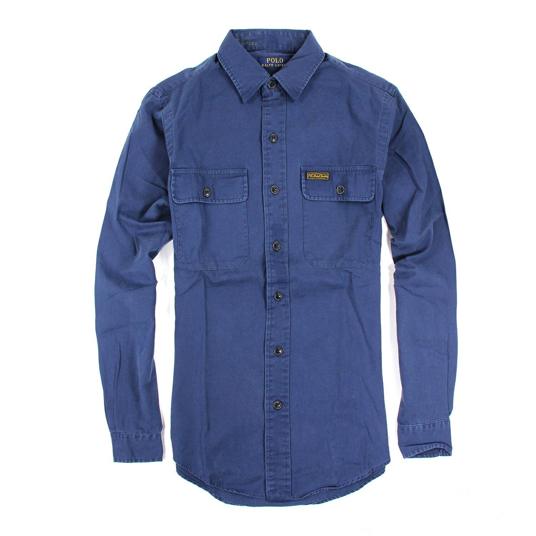 美國百分百【Ralph Lauren】長袖 襯衫 RL 男 素面 復古 洗舊 深藍 上衣 polo 休閒 S號 E883
