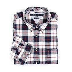 美國百分百【Tommy Hilfiger】TH 男生 長袖 襯衫 格紋 上衣 深藍 紅 白色 XL號 休閒 E893