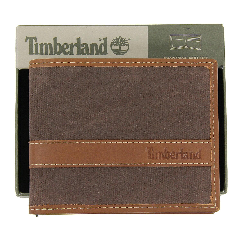 美國百分百【全新真品】Timberland 皮夾 短夾 錢包 皮包 咖啡 真皮 復古 洗舊 帆布 男 禮物 B380