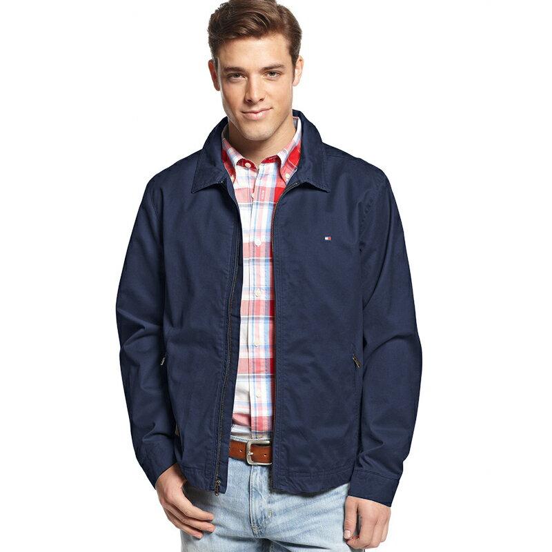 美國百分百【全新真品】Tommy Hilfiger 外套 TH 夾克 立領 帆布 硬挺 純棉 深藍 S號 B997