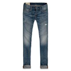 美國百分百【Abercrombie & Fitch】牛仔褲 AF 窄管 長褲 淺藍 刷白 刷色 男 30腰 C618