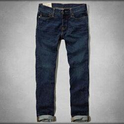 美國百分百【Abercrombie & Fitch】牛仔褲 AF 直筒 長褲 深藍 刷白 刷色 男 30腰 C619