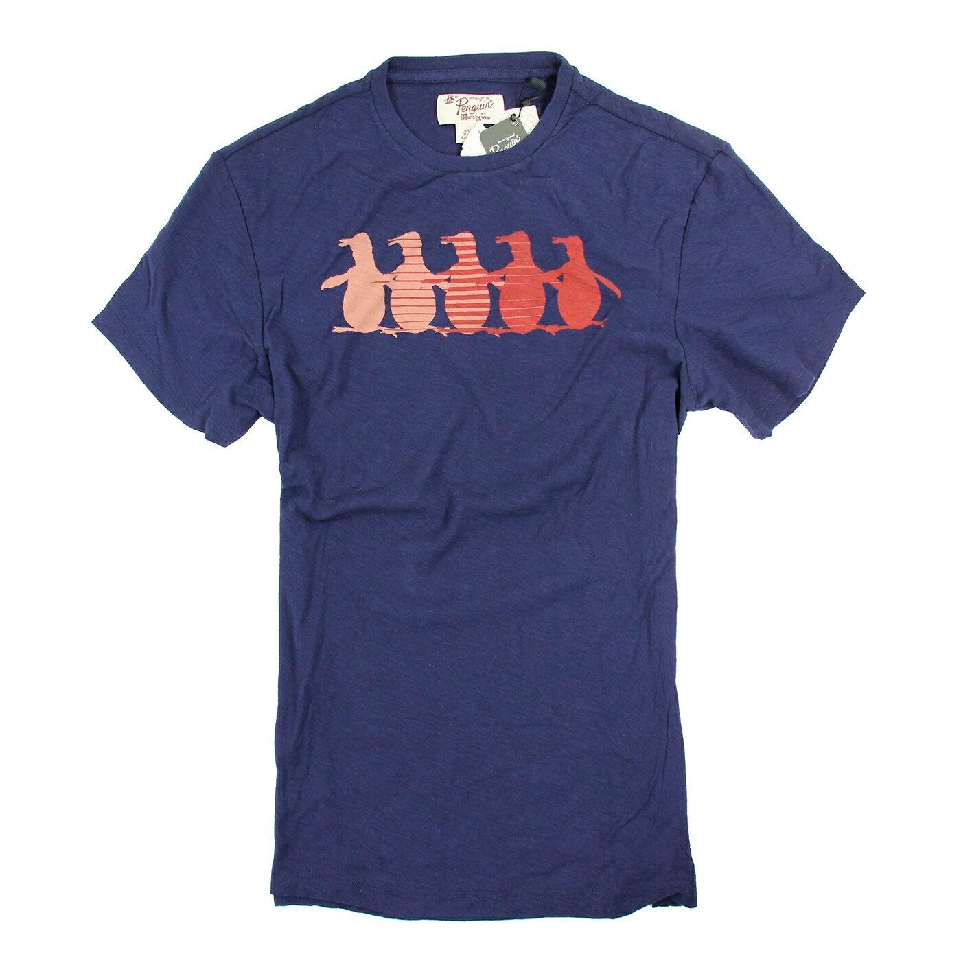 美國百分百【Penguin by Munsingwear】企鵝 男 T-shirt 深藍色 T恤 短袖 S號 D065