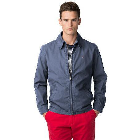 美國百分百【全新真品】Tommy Hilfiger 外套 TH 夾克 立領 立體 薄款 純棉 藍色 XS號 E932
