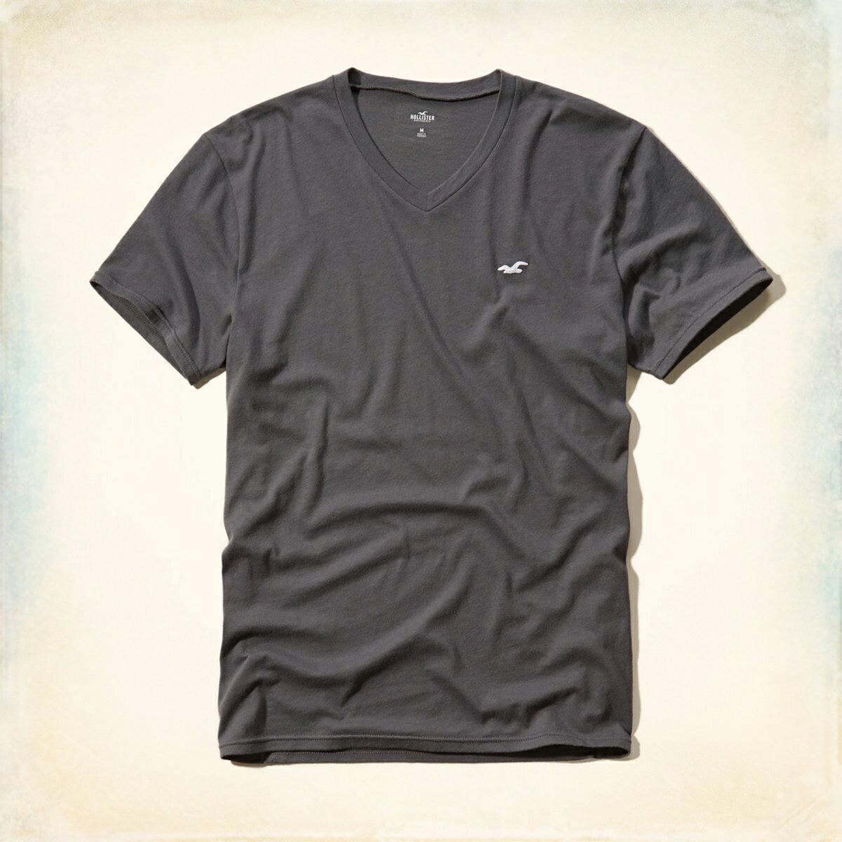 美國百分百【Hollister Co.】T恤 HCO 短袖 T-shirt 海鷗 深灰色 素T logo V領 S號 E956
