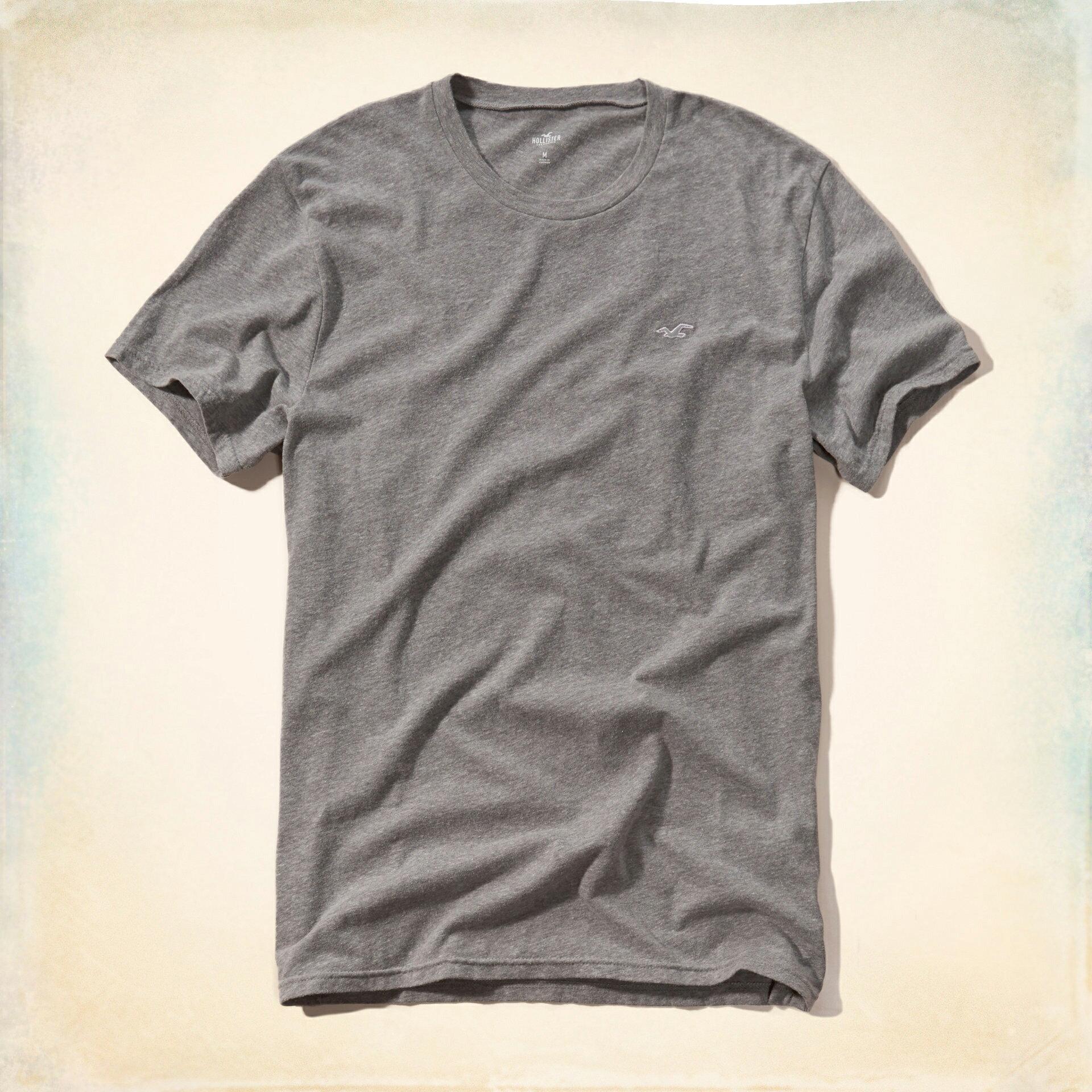 美國百分百【Hollister Co.】T恤 HCO 短袖 T-shirt 海鷗 淺灰色 logo 素T XL E959