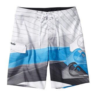 美國百分百【全新真品】Quiksilver 海灘褲 男 短褲 泳褲 沙灘褲 衝浪褲 白色 藍色 海浪 33腰 E976