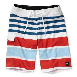 美國百分百【全新真品】Quiksilver 海灘褲 男 短褲 泳褲 沙灘褲 衝浪褲 美式 條紋 白 紅 水藍色 E990