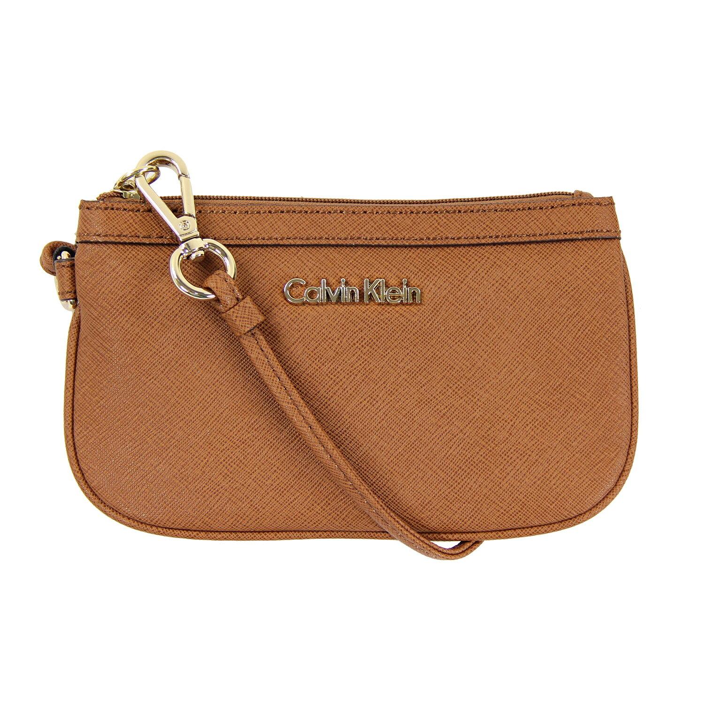 美國百分百【全新真品】Calvin Klein 手拿包 CK 女包 零錢包 提包 鍊包 晚宴小方包 皮質 駝色 A691