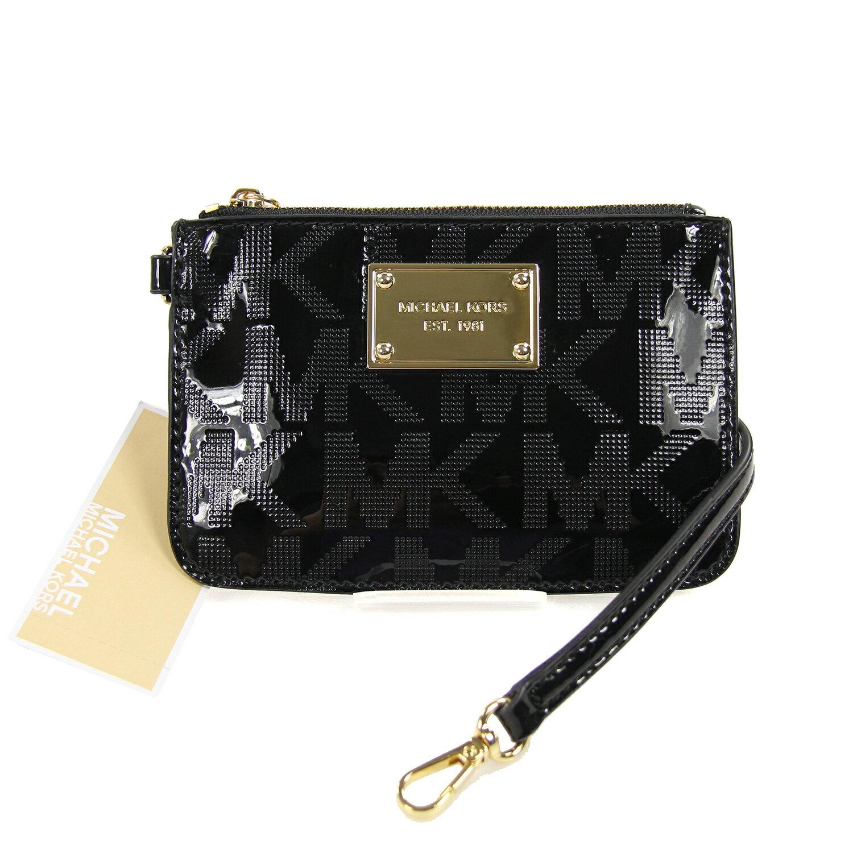 美國百分百【Michael Kors】MK 小包 手拿包 隨身包 晚宴包 錢包 零錢包 壓紋 漆皮 黑色 C684