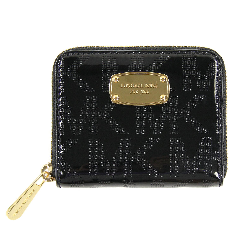 美國百分百【Michael Kors】皮夾 MK 小包 手拿包 隨身包 晚宴包 錢包 短夾 壓紋 漆皮 黑 C685