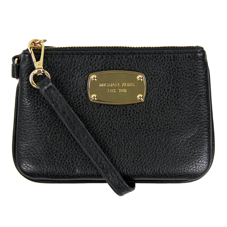 美國百分百【全新真品】MICHAEL KORS 手拿包 MK 手提包 錢包 手機包 皮包 黑色 真皮 女包 F096