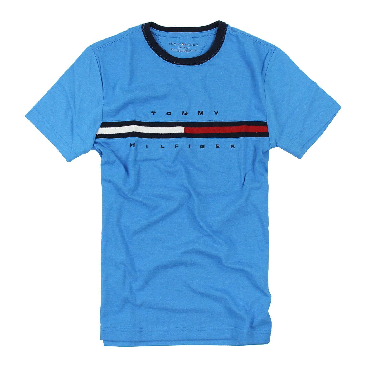 美國百分百【Tommy Hilfiger】T恤 TH 男 Logo 圖案 短袖 上衣 T-Shirt 天空藍 XS號 A794