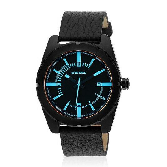 美國百分百【全新真品】Diesel 配件 手錶 腕錶 金屬 運動 男錶 石英 設計 時尚 不鏽鋼 皮革錶帶 黑 E389