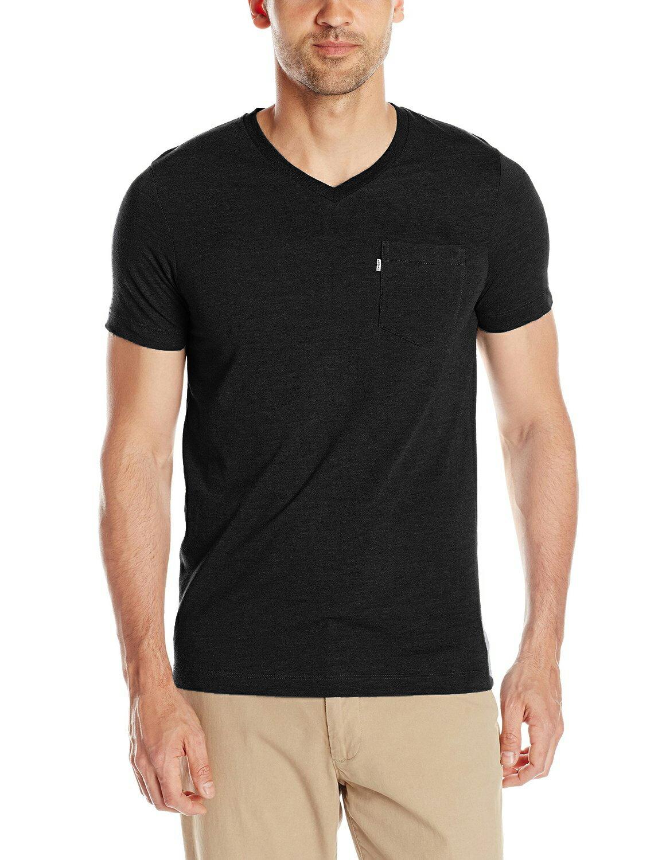 美國百分百【全新真品】Levis T恤 T-SHIRT 短袖 上衣 V領 黑色 素T 口袋 S號 男 F015