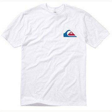 美國百分百【Quiksilver】T恤 短袖 T-shirt 白色 LOGO 衝浪 短T 海灘 男 S號 F022
