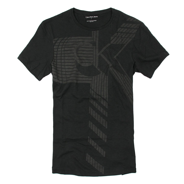 美國百分百【Calvin Klein】上衣 CK 短袖 T恤 T-shirt 短T LOGO 黑 男 幾何線條 S M L XL號 F028
