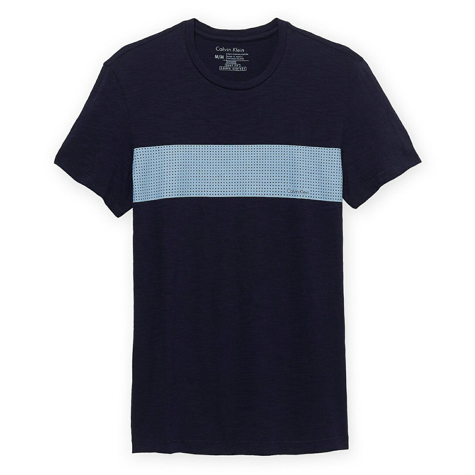 美國百分百【Calvin Klein】上衣 CK 短袖 T恤 T-shirt 短T LOGO 深藍 男 格子 L號 F030