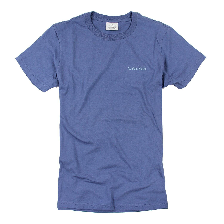美國百分百【Calvin Klein】上衣 CK 短袖 T恤 T-shirt 短T LOGO 藍色 男 素面 S L號 F031