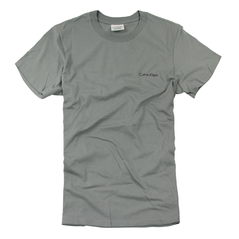 美國百分百【Calvin Klein】上衣 CK 短袖 T恤 T-shirt 短T LOGO 灰色 男 素面 S號 F031
