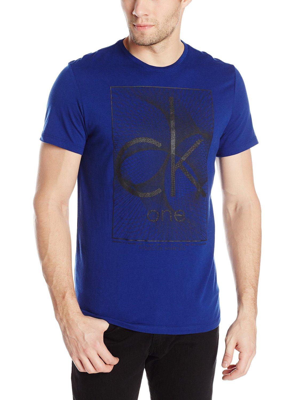 美國百分百【Calvin Klein】T恤 CK ONE 短袖 T-shirt 短T 寶藍 男 幾何線條 上衣 L號 F033