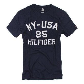 美國百分百【Tommy Hilfiger】T恤 TH 男 圓領 T-shirt 短袖 短T 深藍 字母 文字 M L XL XXL號 F034