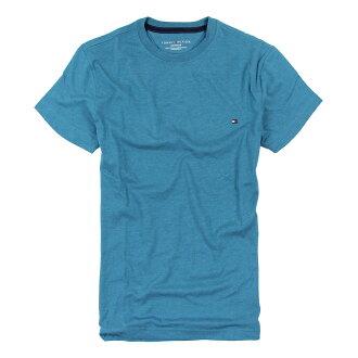 美國百分百【Tommy Hilfiger】T恤 TH 男 圓領 T-shirt 短袖 短T 湖水綠 素面 素T XS號 F035