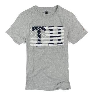 美國百分百【Tommy Hilfiger】T恤 TH 男 圓領 T-shirt 短袖 短T 灰 LOGO 國旗 XS S號 F037