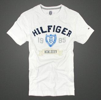 美國百分百【Tommy Hilfiger】T恤 TH 男 圓領 T-shirt 短袖 短T 白 LOGO 徽章 XS S號 F038