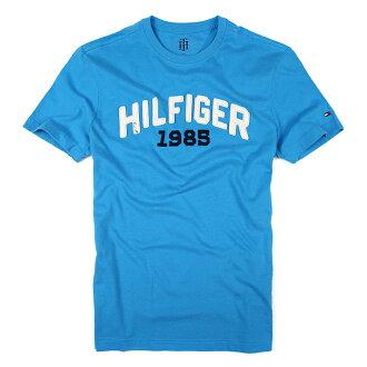 美國百分百【Tommy Hilfiger】T恤 TH 男 圓領 T-shirt 短袖 LOGO 短T 天空藍 S XL XXL號 F040