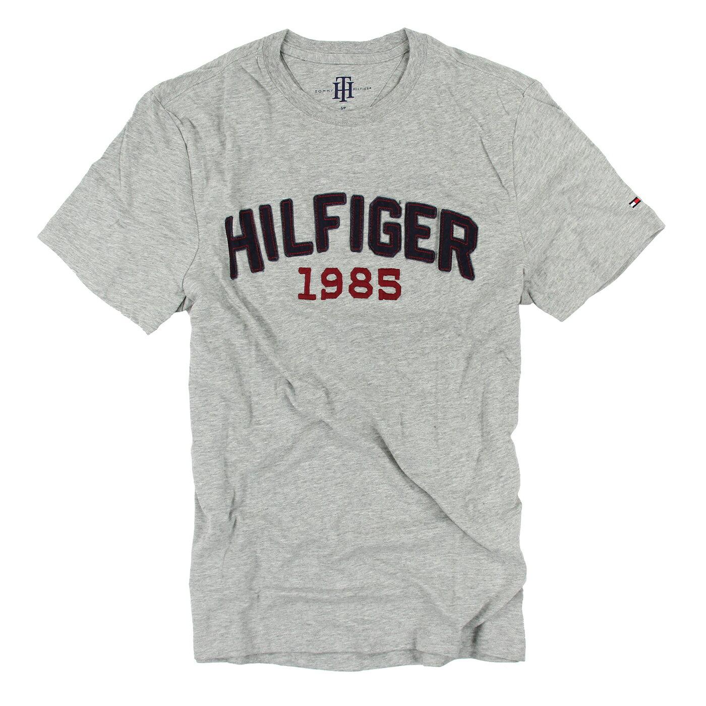 美國百分百【Tommy Hilfiger】T恤 TH 男 圓領 T-shirt 短袖 LOGO 短T 灰色 S XXL號 F040