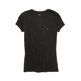美國百分百【Tommy Hilfiger】T恤 TH 女 圓領 T-shirt 短袖 LOGO 短T 黑 素面 XS S M L號 F055